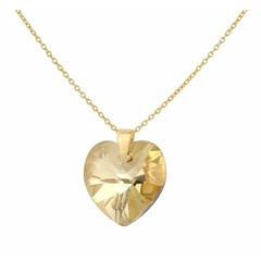 Necklace crystal heart silver gold plated - 1672