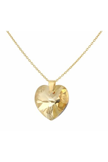 Necklace gold coloured Swarovski crystal heart - sterling silver gold plated - ARLIZI 1672 - Eva