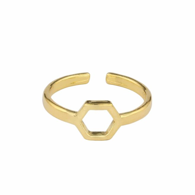 Ring hexagon sterling zilver verguld - 1685