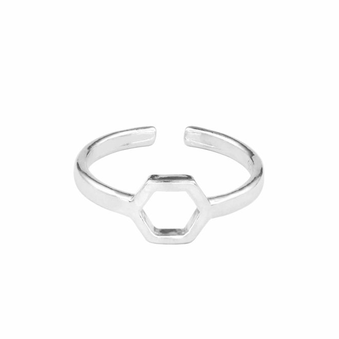 Ring hexagon sterling zilver - 1684