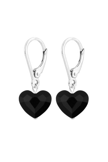Ohrringe schwarz Swarovski Kristall Herz - Sterling Silber - ARLIZI 1707 - Lara