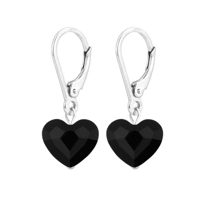 Earrings black Swarovski crystal heart - sterling silver - ARLIZI 1707 - Lara