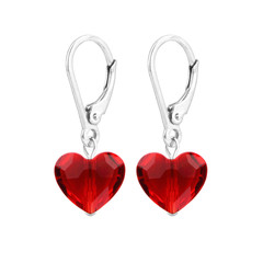 Earrings Swarovski crystal heart - sterling silver - 1708