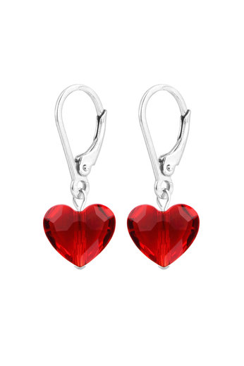 Earrings red Swarovski crystal heart - sterling silver - ARLIZI 1708 - Lara