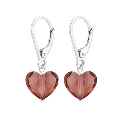 Earrings Swarovski crystal heart - sterling silver - 1709