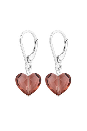 Earrings pink Swarovski crystal heart - sterling silver - ARLIZI 1709 - Lara