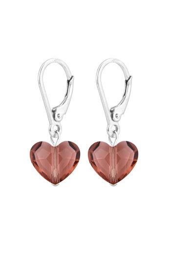 Oorbellen hartje roze Swarovski kristal - sterling zilver - ARLIZI 1709 - Lara