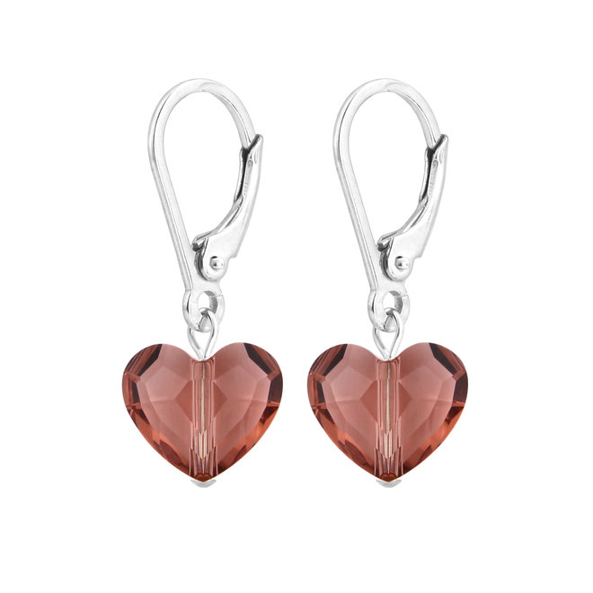Earrings Swarovski crystal heart - sterling silver - 1709