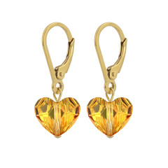 Earrings Swarovski crystal heart - sterling silver gold plated - 1710