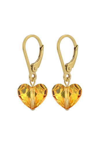 Earrings Swarovski crystal heart - sterling silver gold plated - ARLIZI 1710 - Lara