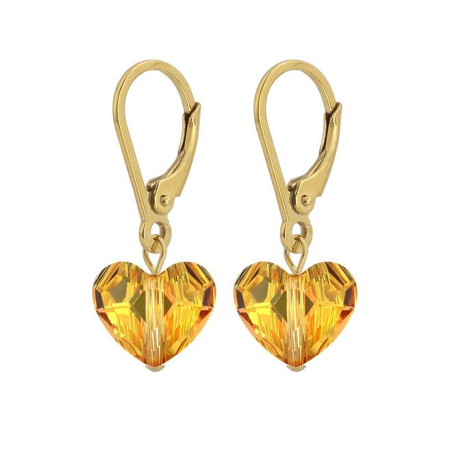 Ohrringe Swarovski Kristall Herz - Sterling Silber vergoldet - ARLIZI 1710 - Lara