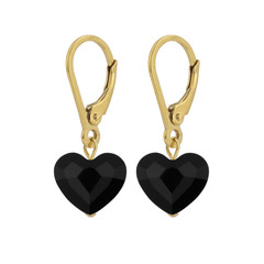 Earrings Swarovski crystal heart - sterling silver gold plated - 1711