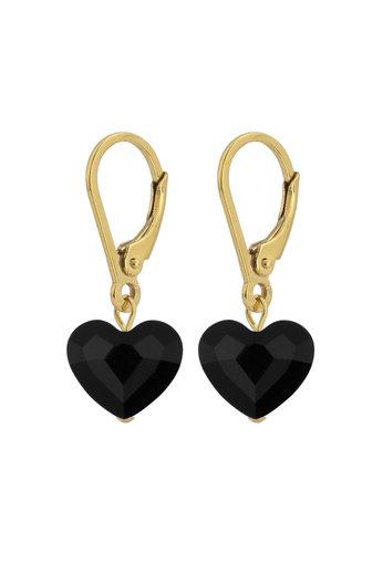 Ohrringe schwarz Swarovski Kristall Herz - Sterling Silber vergoldet - ARLIZI 1711 - Lara