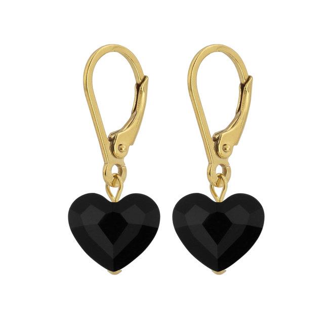 Earrings Swarovski crystal heart - sterling silver gold plated - 1711