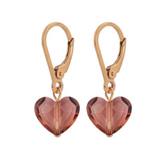 Earrings Swarovski crystal heart - sterling silver rose gold plated - 1712