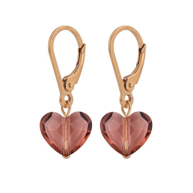 Ohrringe rosa Swarovski Kristall Herz - Sterling Silber rosévergoldet - ARLIZI 1712 - Lara
