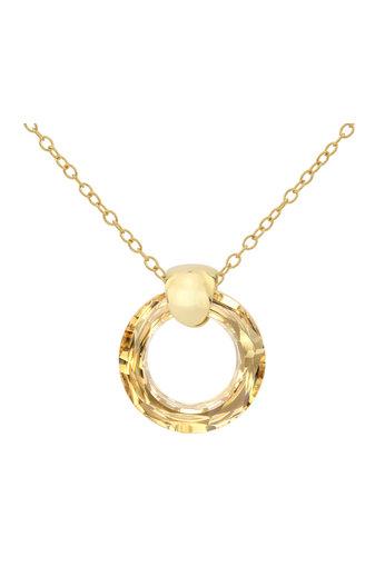 Necklace Swarovski crystal ring pendant - 925 sterling silver gold plated - ARLIZI 1716 - Iris