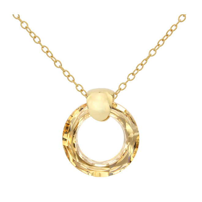 Necklace crystal ring - sterling silver gold plated - 1716