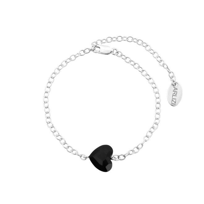 Armband kristal hartje zwart - sterling zilver - 1717