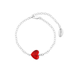 Bracelet crystal heart red - sterling silver - 1718