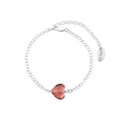 Bracelet crystal heart pink - sterling silver - 1719