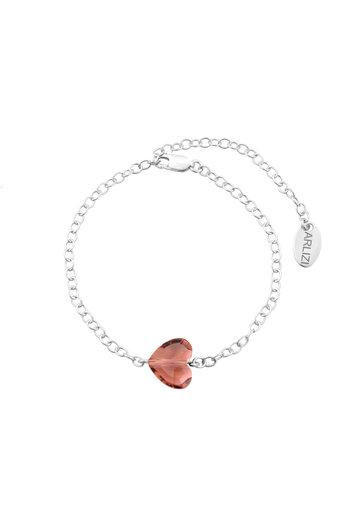 Bracelet heart pink Swarovski crystal - sterling silver - ARLIZI 1719 - Lara