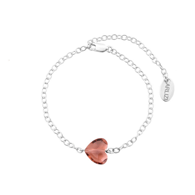 Armband Kristall Herz rosa - Sterling Silber - 1719