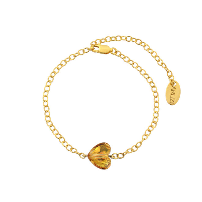 Bracelet crystal heart - sterling silver gold plated - 1720