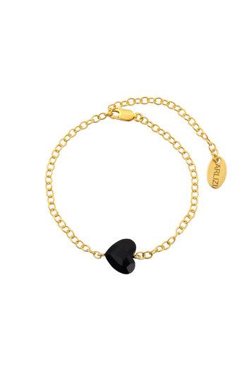 Armband Herz schwarz Swarovski Kristall - Sterling Silber vergoldet - ARLIZI 1721 - Lara