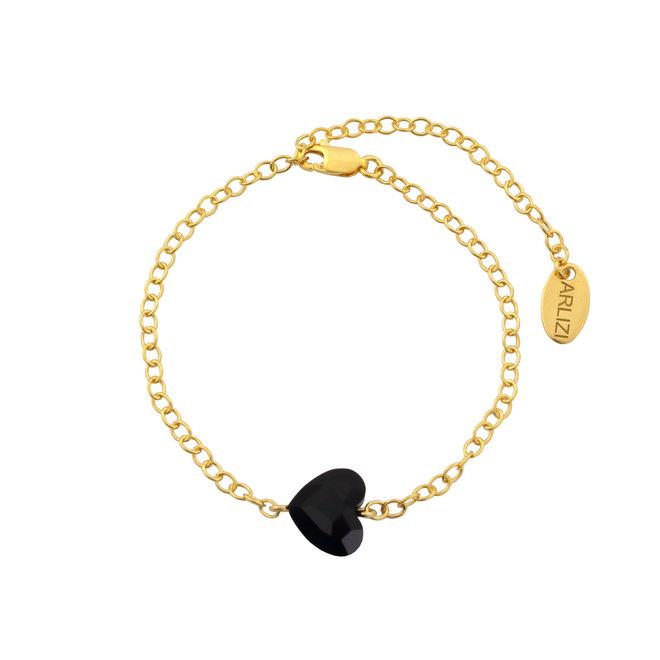 Bracelet black crystal heart - sterling silver gold plated - 1721