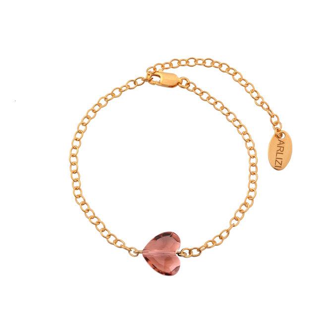 Armband hartje roze Swarovski kristal - sterling zilver rosé verguld - ARLIZI 1722 - Lara