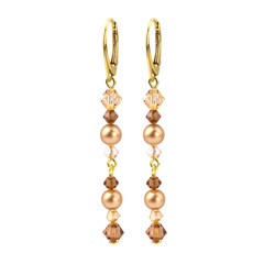 Ohrringe Perle Kristall goldfarbig - Silber vergoldet - 1729