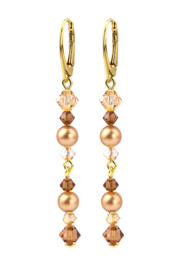 Earrings pearl Swarovski crystal gold - gold plated sterling silver - ARLIZI 1729 - Grace