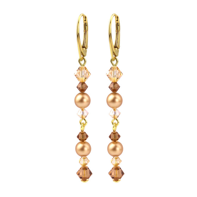 Earrings pearl crystal gold - silver gold plated - 1729