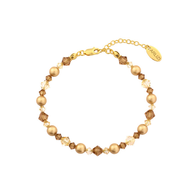 Bracelet pearls Swarovski crystal gold coloured - gold plated sterling silver - ARLIZI 1730 - Grace
