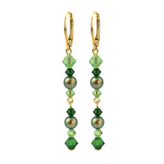 Earrings pearl crystal green - silver gold plated - 1731