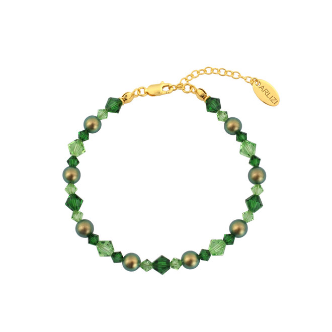 Bracelet pearls crystal green - silver gold plated - 1732
