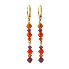 Earrings crystal orange purple - silver gold plated - 1733