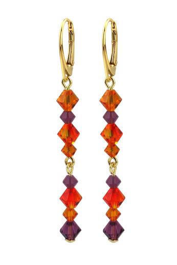 Earrings Swarovski crystal orange purple - gold plated sterling silver - ARLIZI 1733 - Grace