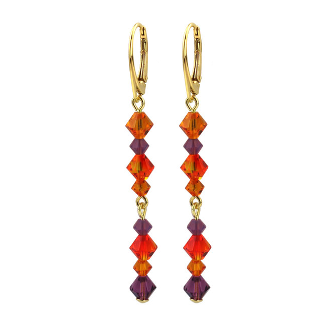 Earrings crystal orange purple - silver gold plated - 1733