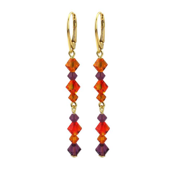 Ohrringe Kristall orange lila - Silber vergoldet - 1733