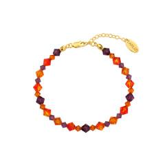 Armband kristal oranje paars - zilver verguld - 1734