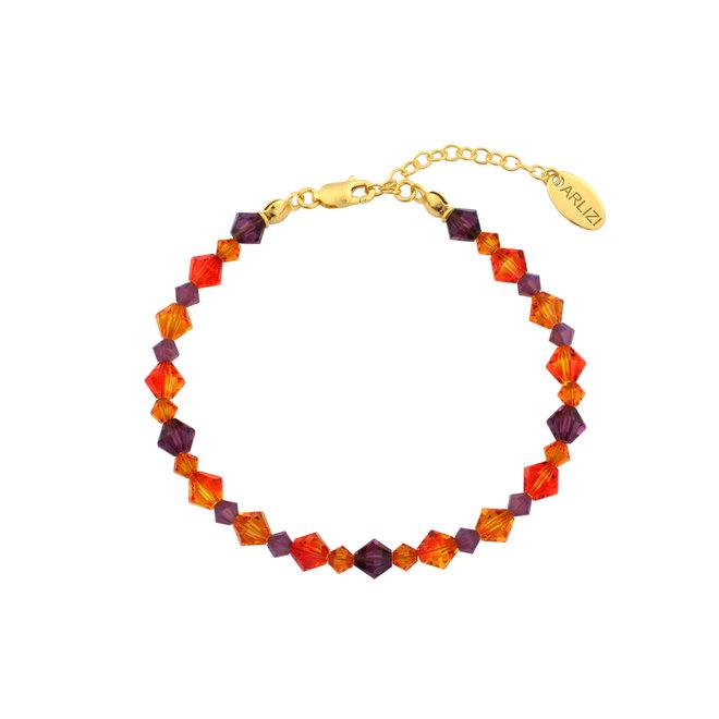 Bracelet crystal orange purple - silver gold plated - 1734