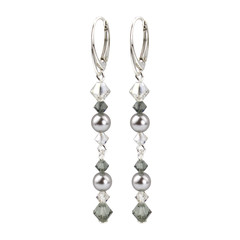 Earrings pearl crystal grey - sterling silver - 1735