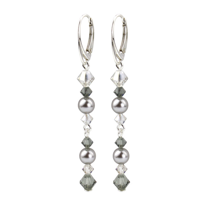 Ohrringe Perle Kristall grau - Sterling Silber - 1735