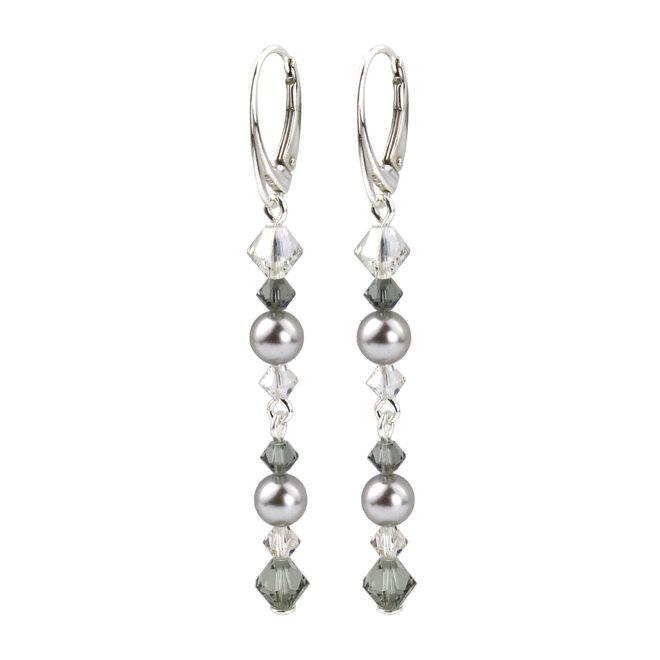 Oorbellen parel kristal grijs - sterling zilver - 1735
