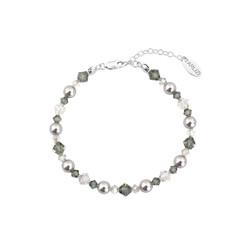 Armband parels kristal grijs - sterling zilver - 1736