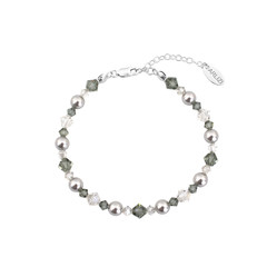 Bracelet pearls crystal grey - sterling silver - 1736