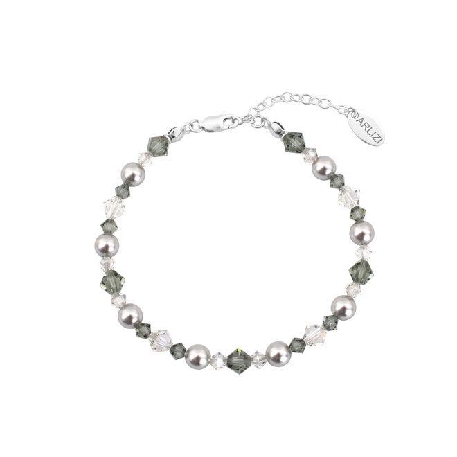 Bracelet pearls crystal grey - sterling silver - 1736