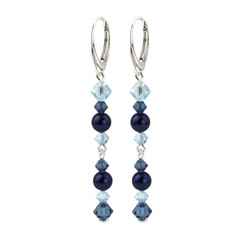 Earrings pearl crystal blue - sterling silver - 1737